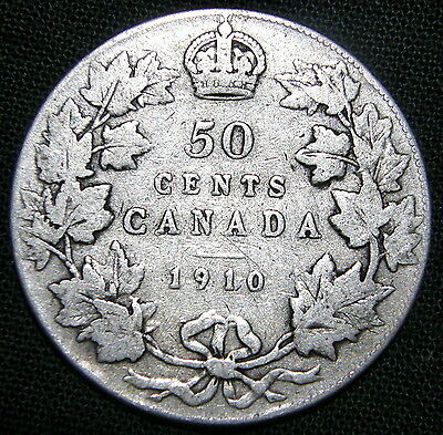 1910 Canada, 50 Cent Coin - Edwardian Leaves