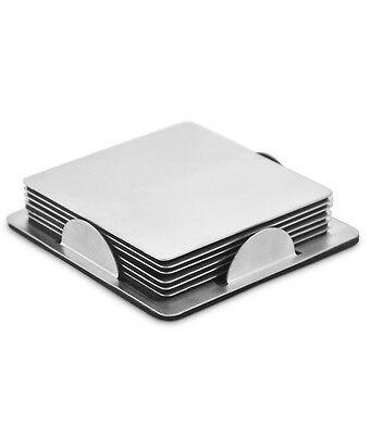 BRAND NEW - 6 Square Stainless Steel Coaster Holder Stylish Drinks Mat Modern