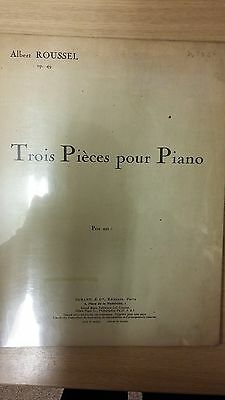 Roussel: Three Pieces For Piano: Opus 49: Music Score (D3)