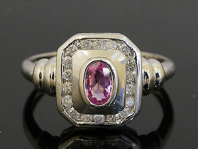 9ct White Gold Oval Pink Sapphire & Diamond Halo Cluster Ring (Size L) 9x10mm