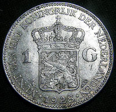 1928 Netherlands, 1 Gulden Coin