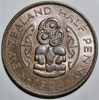 1944 New Zealand, Red/brown Uncirculated Halfpenny