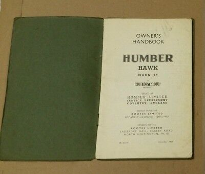Humber Hawk Mark Iv Owners Handbook