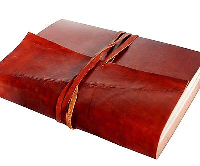 Vintage Leather Journal Notebook Diary w Leather Strap Closur - Coptic Bound