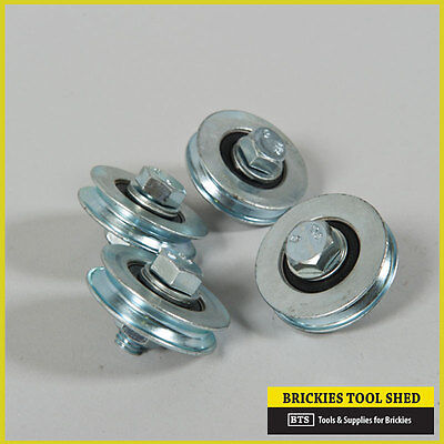 Brick Saw Carriage Wheels, Set Of 4 Wheels With Bearings, Nuts, Bolts, Washers