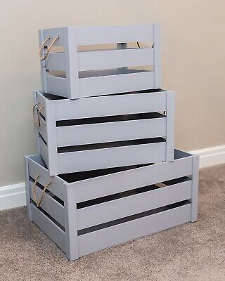 Vintage Wooden Crate Grey Shabby Chic Rope Handle Slatted Apple Display Box Farm