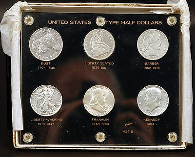 United States Half Dollar Type Set in Capital Holder - 6 Coin Set