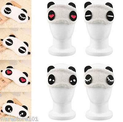 Cute Panda Face Travel Sleep Sleeping Eye Mask Blindfold Cover Portable Shade UK