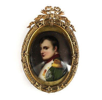 Continental Hand Painted Porcelain Plaque of Napoleon w Gilt Bronze Frame 19th C