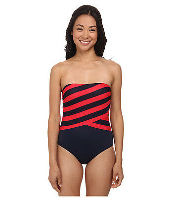 7e59f9be0e85f Dkny Spliced Bandeau Maillot One Piece Swimsuit Navy Blue Red Size 6 New!  $114