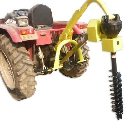 "Titan 60HP HD Steel Fence Posthole Digger w/9"" Auger 3 Point Tractor Attachment"
