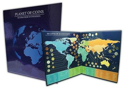 Planet (World) 50 Pieces (PCS) Coin Set w/ Folder from 50 Different Countries