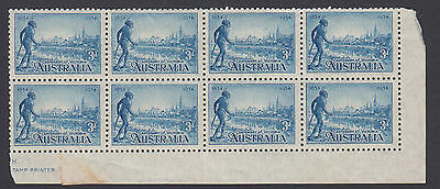 Stamps Australia 3d blue Aboriginal issue block of 8 inc part imprint