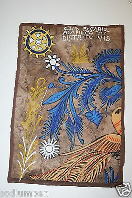 Antique Acapulco Rotario Rotary International Club Hand Painted Leather Banner