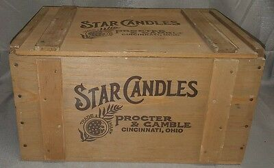 Vintage Procter and Gamble Star Candles Commemorarive Wooden Crate & Lid Box