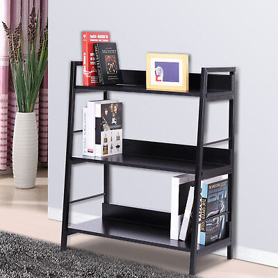 HOMCOM 3 Tiers Leaning Ladder Wooden Bookcase Heavy Duty Shelves Rack Storage