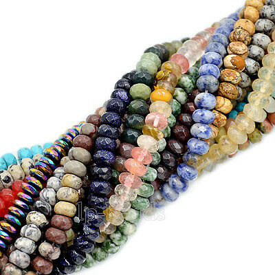 "5x8mm Faceted Natural Gemstones Rondelle Loose Beads 15.5"" Lot  Jewelry Design"