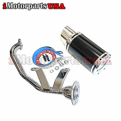 Chinese Gy6 150Cc Scooter Short Shorty High Performance Exhaust Muffler Black