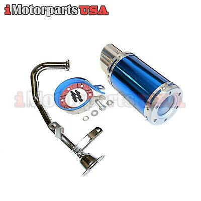 Chinese Gy6 150Cc Scooter Short Shorty High Performance Exhaust Muffler Blue New