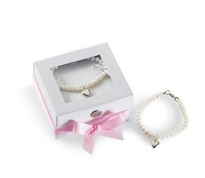 Mud Pie Classic Keepsake Baby Flower Girl Heart Freshwater Pearl Bracelet 195025