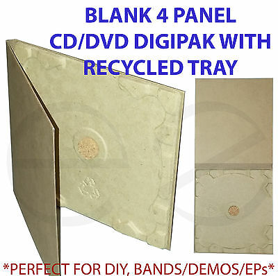 Cardboard CD/DVD 4 panel Digipak w/Recycled Tray *Great for Demos,EP,DIY* 30pack
