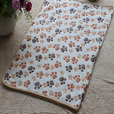 Pet Mat Large Paw Print Cat Dog Puppy Fleece Soft Blanket Bed Cushion 2# us