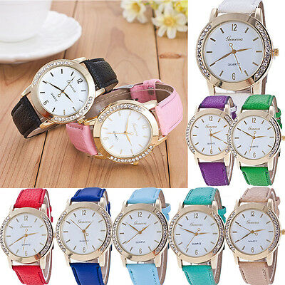 Women's Watch Leather Band Stainless Steel Analog Quartz Wrist Watch Fashion