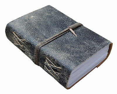 Vintage Gray Leather Journal/Guest book with handmade paper-Leather Coptic Bound