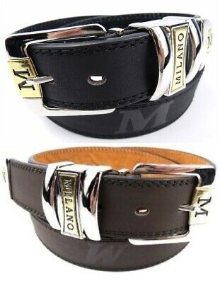 """Men's Leather Jeans Belt, Black or Brown, 28"""" - 48"""" Gift Box Option, by Milano®"""