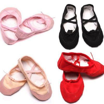 Kids Girls Toddler Canvas Ballet Dance Shoes Child Fitness Gymnastics Slippers H