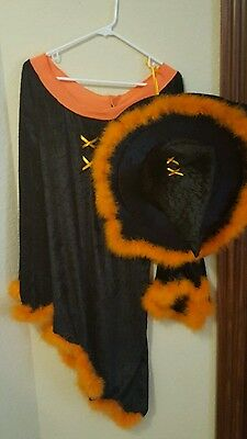 Halloween Party Trick or Treat Black & Orange Witch Costume Prop Hat & Dress