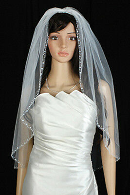 Bridal Wedding Veil Ivory 1 Tier Fingertip Length Edge In Beads And Sequins