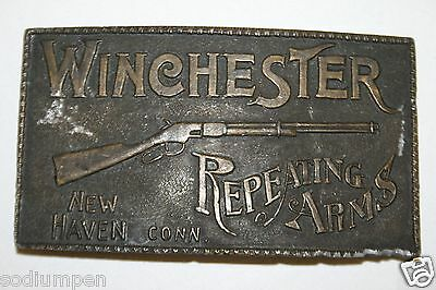 Original Vintage Large Heavy Solid WINCHESTER Guns Rifles Belt Buckle Rare