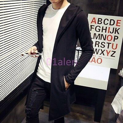 HOT Casual Mens Spring Mid Hooded long jacket Trench Coat Slim Fit Cloak Outwear