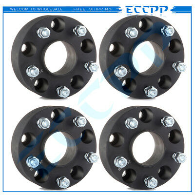 """(4) 2"""" 5x5 Black Hubcentric Wheel Spacers Fits Jeep JK Wrangler Grand Cherokee"""