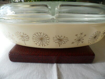 Vintage Retro Pyrex Divided Duet Serving Cooking Dish Gold Dandelion With Lid