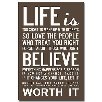 LOVE LIFE Education Motivational Words Art Silk Poster 12x18 24x36 inch 005
