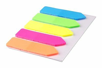 100 Colour Fluro Adhesive Sticky Repositionable Note Marker Index Bookmark Tab