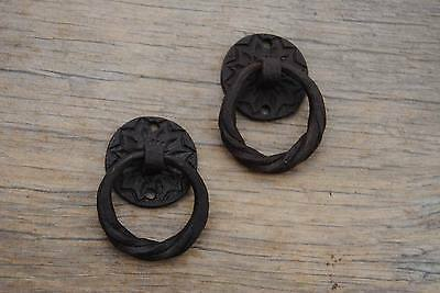 VINTAGE French Cast Iron Drawer Dresser Cabinet Pull Ring handle plate handcraft
