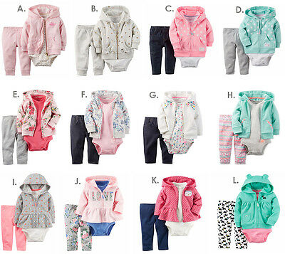 20605d978 NEW CARTERS NEWBORN 3 6 9 12 18 24 Month Cardigan Set Outfit Baby ...