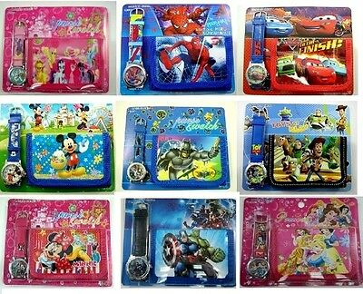Kids Children Boys Girls Cartoon Character Wallet,Coin Purse & Watch SET GIFT