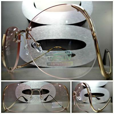 OVERSIZED VINTAGE RETRO Style  SUNGLASSES Upside Down Gold Frame Light Pink Lens