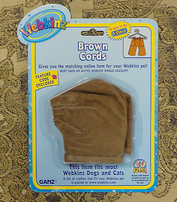 Ganz~Webkinz~Outfit~Brown Cords~New~Sealed~Never  Been Used~We000306