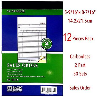 12 Piece 2 Part Carbonless Sales Order Book Receipt Forms Invoice 50 Sets