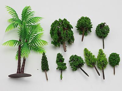 10 Assorted Mini Green Trees for Miniature Fairy Garden Ornament Dollhouse Plant