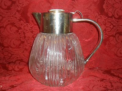 Vintage Ribbed Glass Silver Plate  Wine Cooler With Insert