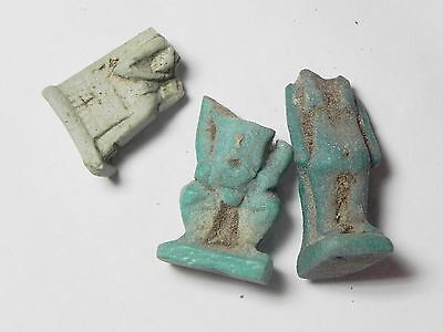 Zurqieh -Tat80- Ancient Egypt , Lot Of 3 Faience Amulet Fragments. 600 - 300 B.c