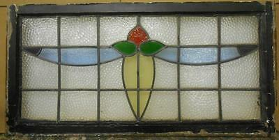 "LARGE OLD ENGLISH LEADED STAINED GLASS WINDOW Floral Swag Transom 36.5"" x 18"""