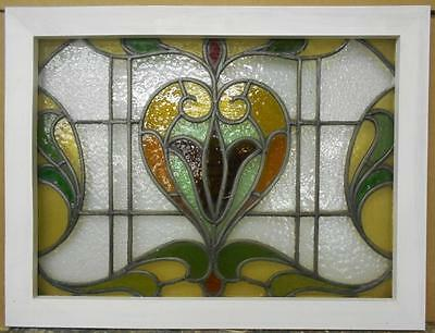"VICTORIAN ENGLISH LEADED STAINED GLASS  WINDOW Floral Heart Scene 28.5"" x 21.75"""