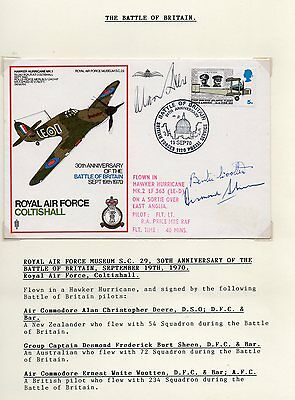Hand Signed RAF Battle of Britain FDC by Parrott, Hallowes & Wright